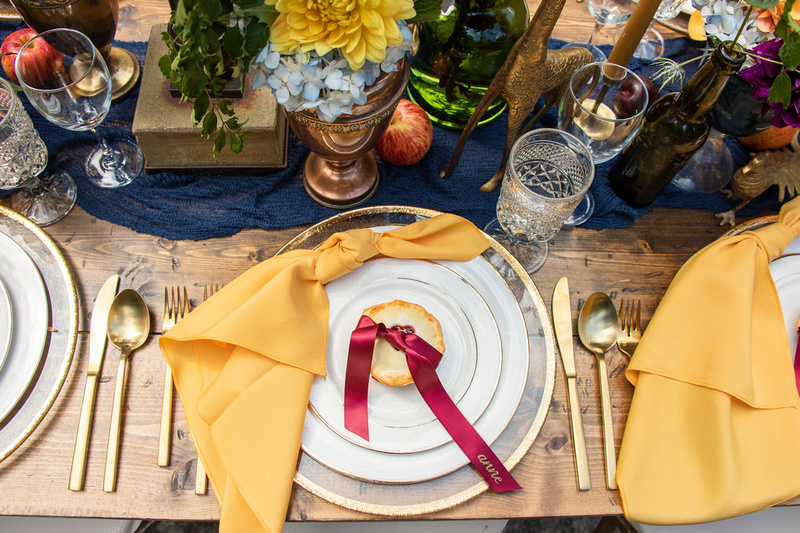 Fall place setting at The Ellington House in Asheville