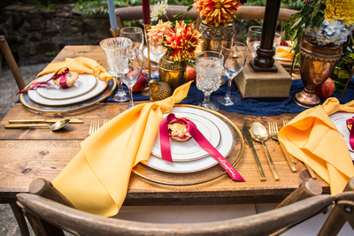 Fall wedding table setting at The Ellington House in Asheville