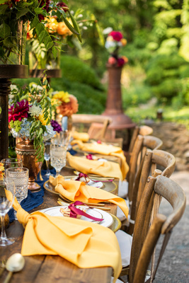 Wedding table fall decor at The Ellington House