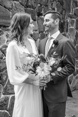 Black and white wedding portrait at Homewood castle in Asheville