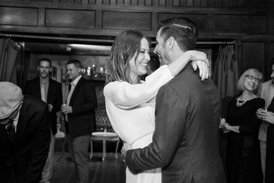 Bride and groom first dance at wedding at Homewood in Asheville