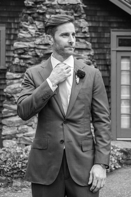 Groom portrait in black and white at Homewood in Asheville
