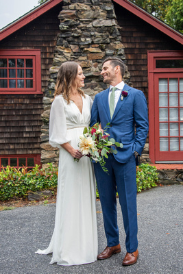 Long sleeve flowy wedding dress classic look at Homewood in Asheville