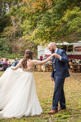 Dancing at Asheville Botanical Gardens wedding