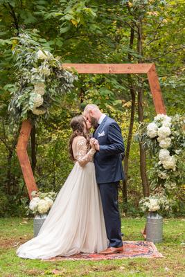 First kiss at Asheville Botanical Gardens