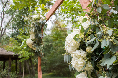 Geometric wedding arch at Asheville Botanical Gardens