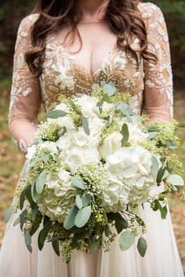 hydrangea bridal bouquet at Asheville Botanical Gardens wedding