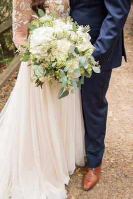 Hydrangea wedding bouquet at Asheville Botanical Gardens