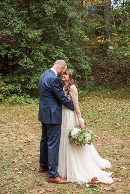 Wedding portrait at Asheville Botanical Gardens in fall