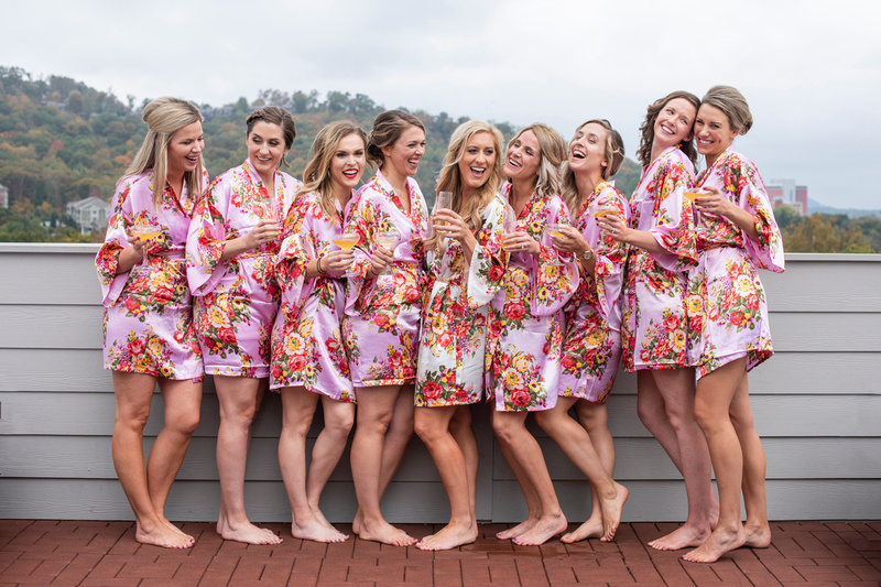 Bridal party robes and getting ready at The Foundry in Asheville