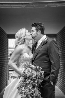 Bride and groom in black and white at The Foundry in Asheille