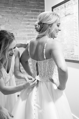 Bride getting ready at The Foundry in Asheville for fall wedding