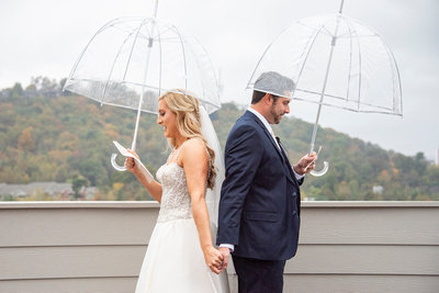 First look and love letters at The Foundry in Asheville wedding