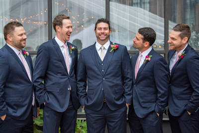 Groom and groomsmen at The Foundry in Asheville