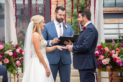 Ring ceremony at The Foundry in Asheville wedding