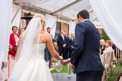 Sand ceremony at The Foundry in Asheville wedding