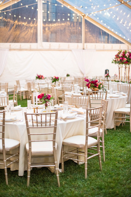 The Foundry in Asheville wedding reception under clear top tent in the fall