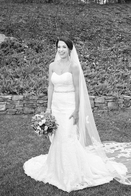 Bridal portrait at The Lodge at Flat Rock in lace wedding gown