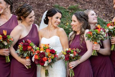 Bride and bridesmaids at fall wedding at The Lodge at Flat Rock near Hendersonville