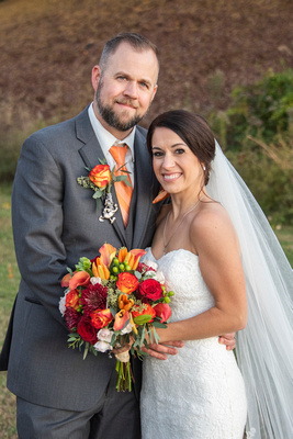 Bride and groom portrait at The Lodge at Flat Rock near Asheville