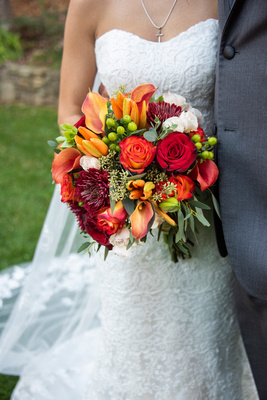 Colorful fall wedding bouquet at The Lodge at Flat Rock near Asheville