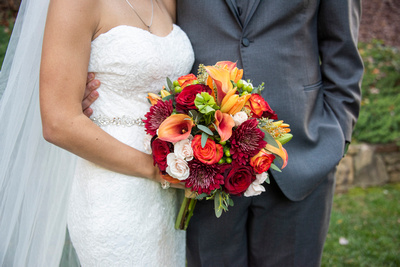 Fall wedding bouquet with rich colors at The Lodge at Flat Rock