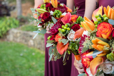 Fall wedding bouquets at The Lodge at Flat Rock