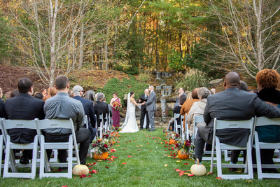 Fall wedding ceremony outside at The Lodge at Flat Rock