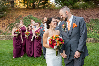 Fall wedding party photo at The Lodge at Flat Rock near Asheville