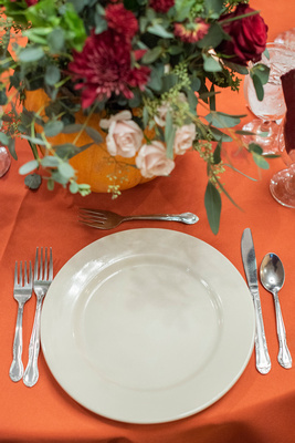 Fall wedding place setting at The Lodge at Flat Rock near Asheville
