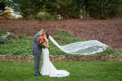 Flying veil wedding photo at The Lodge at Flat Rock