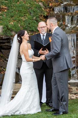 Laughter during wedding ceremony at The Lodge at Flat Rock