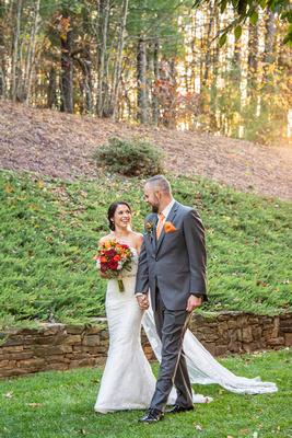 Sunset wedding photos at The Lodge at Flat Rock near Asheville