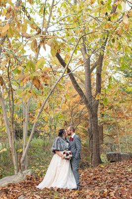 Botanical Gardens in Asheville fall wedding photo