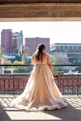 Bridal portrait in downtown Asheville at The Asheville Masonic Temple