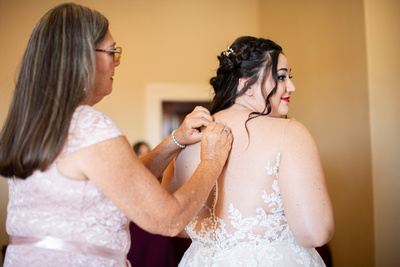 Bride getting ready for fall wedding at The Asheville Masonic Temple