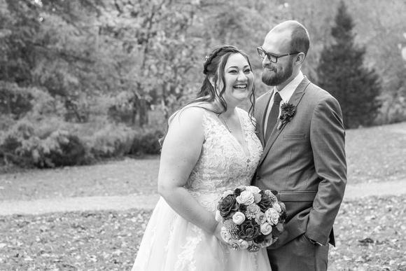 Bride laughing at Botanical Gardens in Asheville