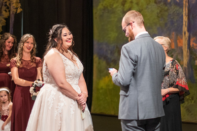 Fall wedding ceremony at The Asheville Masonic Temple