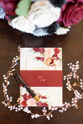Fall wedding invitation with details and ministry of magic wax seal at Celine and Company in Asheville