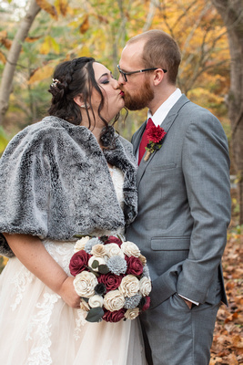 Fall wedding photo on cold day at Botanical Gardens in Asheville