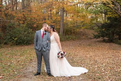 Fall wedding photos at Botanical Gardens in Asheville