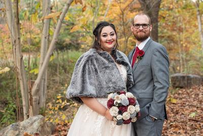 Fall wedding portrait at the Asheville Botanical Gardens
