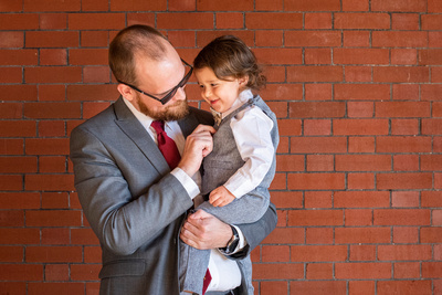 Groom and ring bearer at The Asheville Masonic Temple