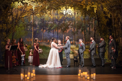 The Asheville Masonic Temple theater fall wedding ceremony