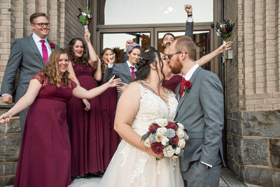 Wedding party photo at fall wedding in downtown Asheville at The Asheville Masonic Temple