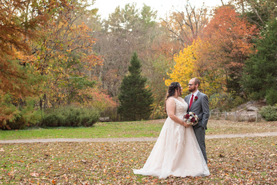 Wedding portrait at Botanical Gardens in Asheville during fall