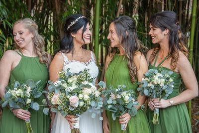 Bride and bridemaids photo at Hawkesdene wedding
