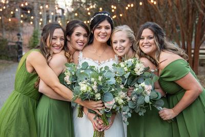 Bride and bridemaids photograph at fall wedding at Hawkesdene in Andrews