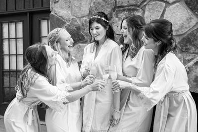 Bride and bridesmaids at Hawkesdene wedding