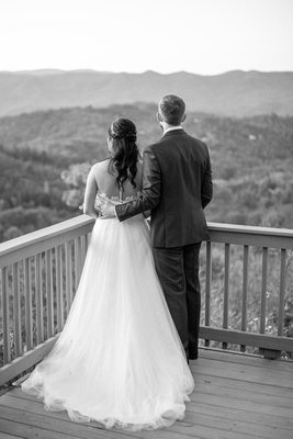 Bride and groom looking at mountains at Hawkesdene in Andrews NC